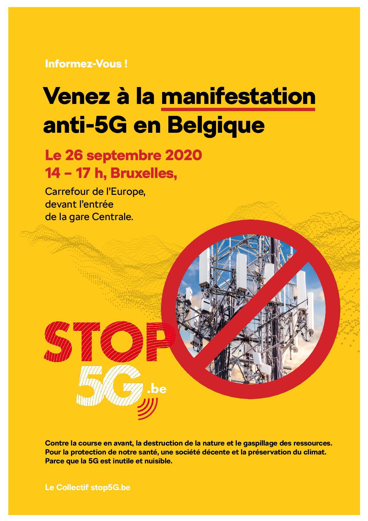 Manifestation anti-5G à Bruxelles le 26 septembre
