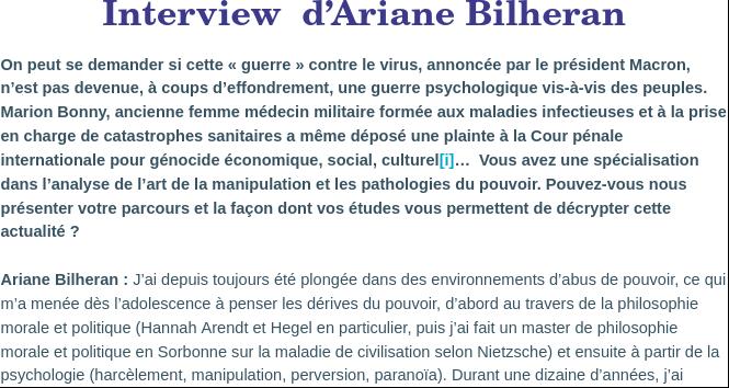 Interview  d'Ariane Bilheran